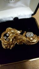 Stunning New Vintage Finely Detailed Art Noveau Pin with Hand Set Russian CZ's