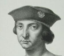 """Antigua cuadro Charles VIII conocido como """"el afable"""" rey de Francia 1850 rama"""