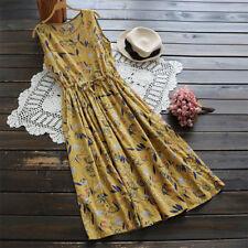UK 10-24 Women Boho Sleeveless Floral Printed Long Shirt Vest Dress Plus Size