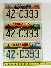 RARE Lot of 3 Nebraska Matching #'d 42-C393 Different License Plates 1993 96 99