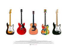 Eric Clapton's 5 Famous Guitars ART POSTER A2 size