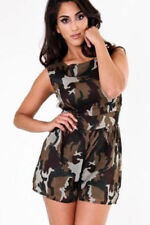 Polyester Crew Neck Camouflage Jumpsuits & Playsuits for Women