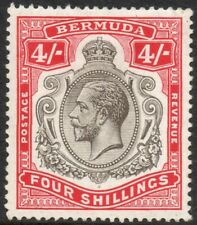 BERMUDA-1920 4/- Black & Carmine Sg 52b MOUNTED MINT V38405