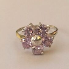 Signed RJ 925 Sterling Silver Flower Ring With Blue Topaz Stones