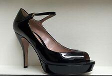 Gucci Stiletto Ankle Strap Heel Black Patent Platform Open Pump 309871 38.5