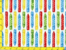Coloring Crayons in a Row Quilting Fabric by the Yard  #929