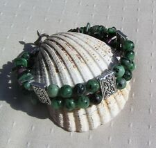 """Zoisite with Ruby Inclusions (Anyolite) Crystal Gemstone Bracelet """"Ruby Green"""""""