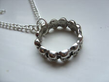 Unusual Skull Ring  Silver Curb Chain Necklace