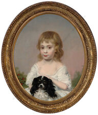 """Little girl with King Charles spaniel"", British School, oil on canvas, ca.1800"