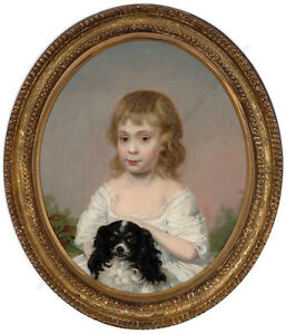"""""""Little girl with King Charles spaniel"""", British School, oil on canvas, ca.1800"""