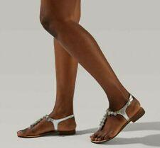 Kurt Geiger Carvela Bebe Sandal UK 5 Embellished Silver Leather Flat Sparkle Gem