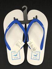 Hollister by Abercrombie  Rubber Sandals Flip Flops WHITE/BLUE-MENS SIZE S 9/10