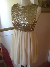 Gold sequins TFNC DRESS UK 8 10 small Gatsby retro skater party prom mini