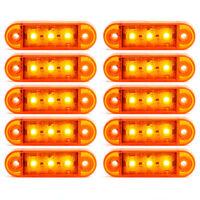 10x 24V SMD 3 LED Ligero Indicador Intermitente Naranja Para Camión Remolque