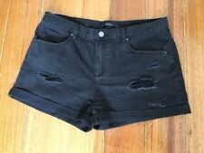 Decjuba Women's Black Distressed Denim Shorts – Size 12