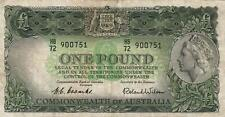 AUSTRALIA 1 POUND BANKNOTE Coombs Wilson NICE CIRC OLD CREASES, MARKS NO HOLES