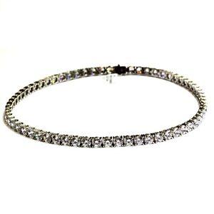 "925 sterling silver Made Swarovski Cubic Zirconia Tennis necklace 50.3g 17"""