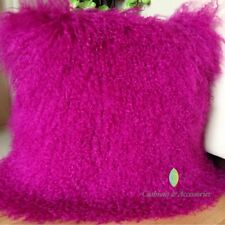 SOLID PINK 40*40CM GENUINE MONGOLIAN SHEEPSKIN LAMB WOOL FUR CUSHION COVER