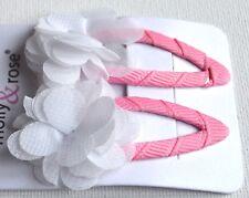 5cm White Chiffon Flower Fuchsia Pink Hair Clips Fashion