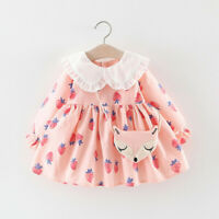 Toddler Baby Kids Girls Ruffles Doll Collar Strawberry Dresses Casual Clothes AU