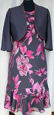 Jacques Vert  PASSION & SLATE CERISE & GREY SILK DEVORE DRESS SLATE BOLERO S1H