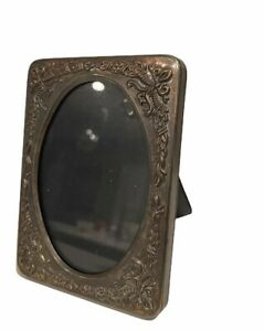 """Vintage SILVER PLATED Oval Decorative PHOTO FRAME Miniature 4.25"""" H x 3.25"""" W"""