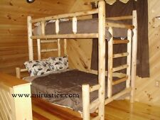 #1 Selling Twin over Queen Rustic Cedar Log Bunk Bed