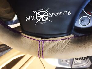 FITS MORRIS MINOR ESTATE BEIGE LEATHER STEERING WHEEL COVER PURPLE DOUBLE STITCH