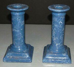 "Vintage Blue White Gray Marbled Ceramic Candle Holder Candlesticks 5"" - Set of 2"