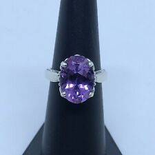 Kabana Sterling Silver 925 Large Beautiful Rich Amethyst Ring Size 5.75