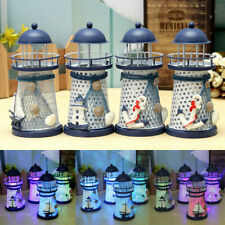 US Ocean Metal Craft Lighthouse Desktop Ornaments Mediterranean LED Light Decor