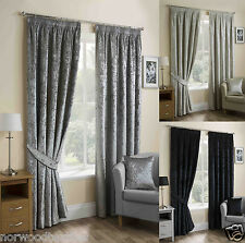 """Crushed Curtains Velvet 3"""" Pencil Pleated Headed Tape Ready Made Lustre Blockout"""