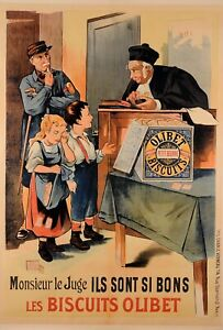 """Vintage French Reprint Children Poster """"Olibet Bisquits"""" by Eugene Oge 1990s"""