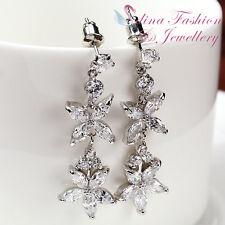 18k White Gold Plated CZ Flower Wedding Chandelier Earrings