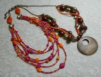 VINTAGE TO NOW MULTI STRAND PINK & ORANGE GLASS SEED BEADED BOHO NECKLACE LOT