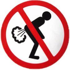 """NO FARTING sticker autocollant panneau d'avertissement de hangars chambre réfrigérateur 3,5 """"plaisanterie cadeau"""