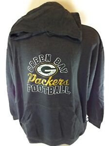 NEW Mens NFL Majestic Green Bay Packers Charcoal Screen Printed Pullover Hoodie