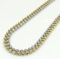 """16-20"""" 1.8mm 14k White Yellow Gold Moon Cut Italy Ball Bead Chain Necklace"""