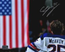 Charlie McAvoy Boston Bruins Signed autographed spotlight USA Flag 30x40 canvas