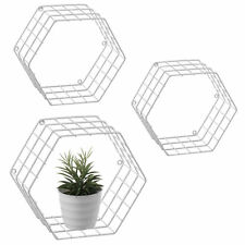 MyGift Metal Wire Hexagon Design Wall-Mounted Shelves, Set of 3, White