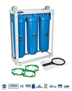 """AQUAFILTER 20"""" Big Blue BB 3-Stage Whole House Water Filter System Housing"""