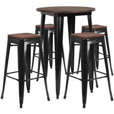 "30"" Balck Metal Bar Height Restaurant Table Set Walnut Wood Top and 4 Barstool"