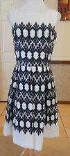 Taylor Black/White Jacquard Print - Aline Dress - Size 10-12 - Work / Races