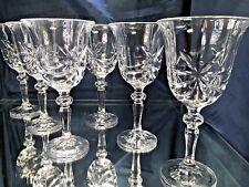 Crystal Glass Set of 6 Wine Champagne 8 oz Bohemia Crystal Vintage Design