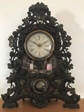 Antique Cast Iron Front Paint Decorated and Mother of Pearl 8 Day Mantle Clock