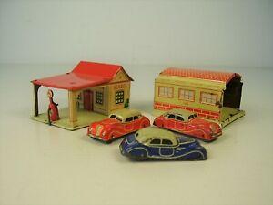 Antike Fischer Georg Penny Toy Blech Garage Tankstelle / Autos vor 1945