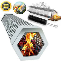 Stainless Steel BBQ Grill Smoker Tube for Wood Chips, Hinged Lid, Smoking Meat