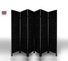 Room Divider Wood Frame Wicker Privacy Screen/Separator/Partition Black 6 Panel
