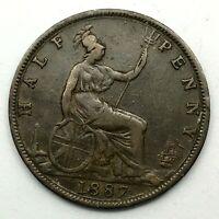 1887 GREAT BRITAIN VICTORIA 1/2 PENNY BRONZE COIN- Error In Date KM# 754.