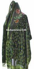 Stunning Handmade Oblong Olive Beaded Peacock 100% Silk Velvet Scarf Shawl Wrap
